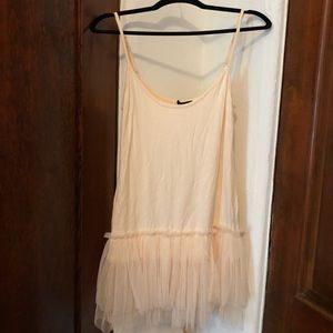 Ange blush layering tank with tulle - one size